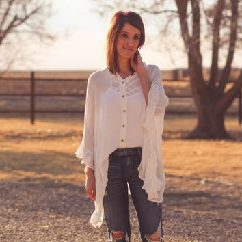 Siesta Button Down Ruffle Top in Ivory