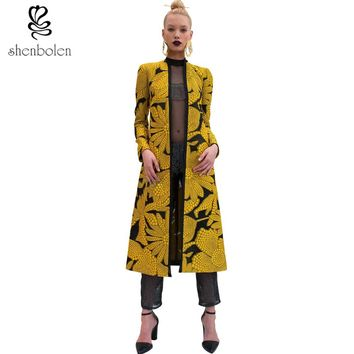 Spring autumn  Women long Coat African dresses for women clothing Ankara batik wax print long sleeve jacket clothes cotton