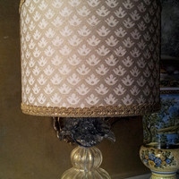 Authentic Italian Murano Gold Hand Blown Glass Table Lamp with Fortuny Fabric Lamp Shade - Made in Venice
