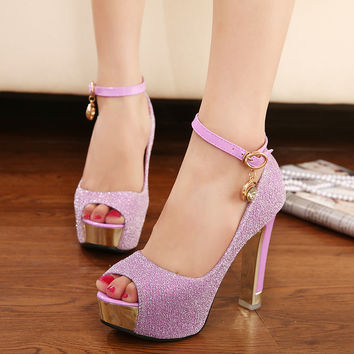 High Heel Water Proof Korean Waterproof Peep Toe Sandals = 4814798084