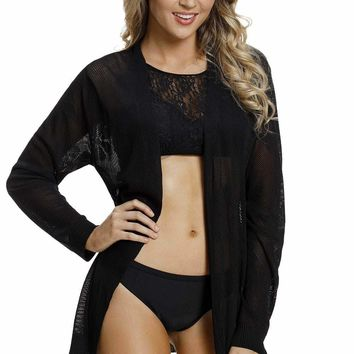 Black Flowery Knit Sheer Hollowed Lace Cardigan