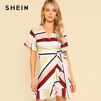 SHEIN Knot Side Ruffle Trim Wrap Dress Women Striped Multicolor Elegant Dress Summer A Line High Waist Fit and Flare Beach Dress