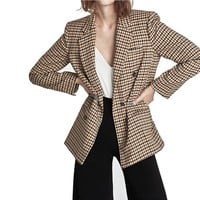 Autumn Women Plaid Notched Lapel Suits Jacket Double-breasted Fastenings Spring Gingham Coat Office Ladies Fall Blazer Slim Tops