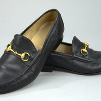 Vintage GUCCI Black Leather Loafers Italian Leather & Brass Horsebit Slip On Dress Shoes 9.5 E