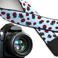 InTePro Ladybird camera strap with four-leaf clovers. Light blue DSLR / SLr Camera Strap. Camera accessories.