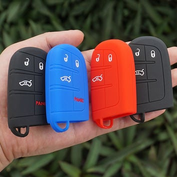 Silicon rubber key FOB Case Cover Cap Set Sticker sleeve skin for Jeep Renegade hard steel 2016 smart remote protect accessories
