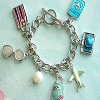 i love to travel charm bracelet