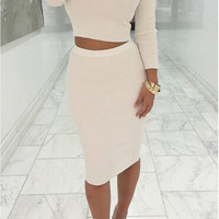 ☀ Make them stare ☀ 2 Pcs Women Sets Long Sleeve Midi Pencil Bodycon