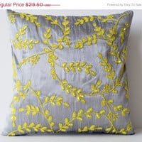 Valentine SALE Grey Yellow throw pillows with beads detail -Beaded Leaves pillows -Silk pillows -Cushion cover -Gift pillow -16X16- Beaded C