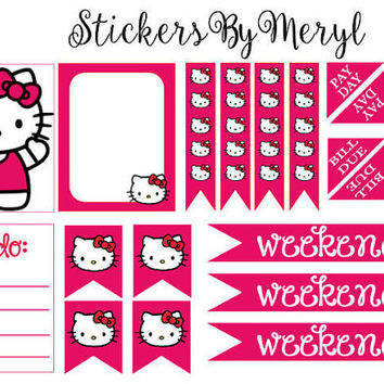erin Condren Life Planner Stickers - Hello Kitty