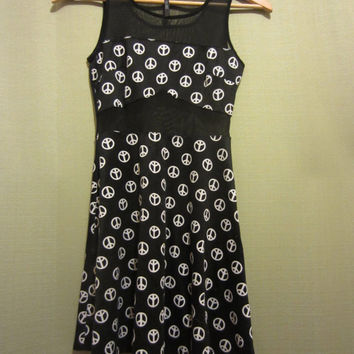 90's style club kid dress with peace signs
