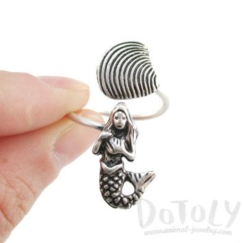 Mermaid and Seashell Wrap Around Adjustable Ring in Silver | DOTOLY