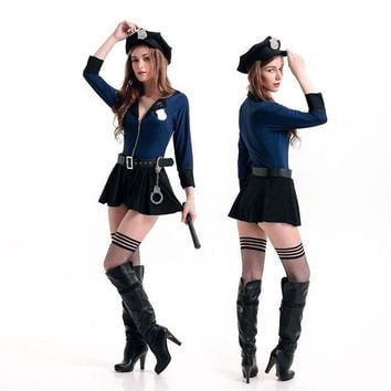 LMFON Performances lead dancer clothing pole dancing clothes sexy temptation of the Navy policewoman Halloween [8979047751]