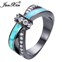 JUNXIN Unique Jewelry Blue Fire Opal Rings For Female Male Black Gold Filled Crossed Shape Wedding Party Zircon Promise Ring