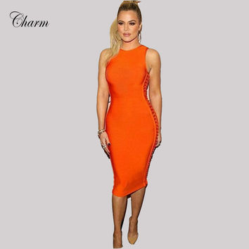 2017 New Winter Vestidos Hollow Out Bodycon Bandage Dresses Women Mid Calf Sexy Sleeveless Evening Party Khloe Kardashian Dress