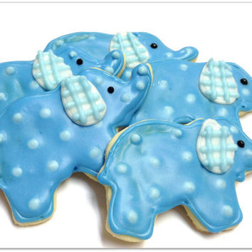 Blue Elephant Sugar Cookie Baby Shower Iced Decorated Cookie Boy Favor