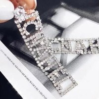 Chanel Fashion Women Personality Letter Full Diamond Long Pendant Earrings I12705-1