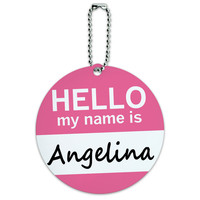 Angelina Hello My Name Is Round ID Card Luggage Tag