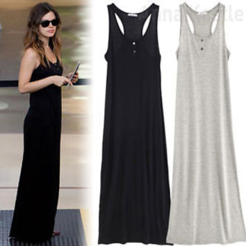 AnnaKastle New Womens Racerback Tank Sleeveless Henley Maxi Long Summer Dress