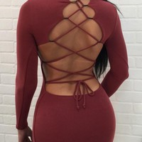 Wine Red Cut Out Tie Back Round Neck Mini Dress