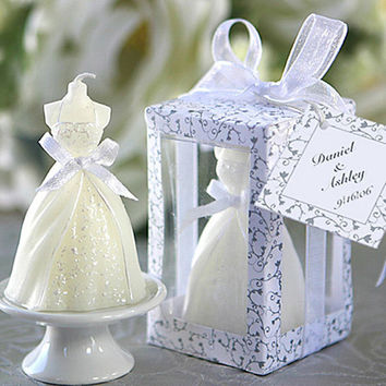 Elegant Boxed Pure White Bridal Bride Shape Candle Wedding Party Favors Decor Candles Wedding Decoration Wx0079