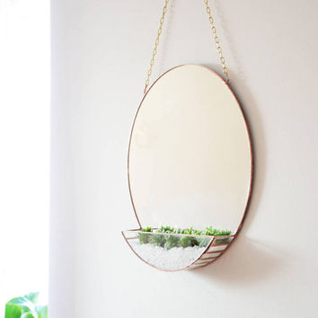 New! Mirror & Terrarium - Modern home decoration - Mirror - Geometric Terrarium - Hanging Terrarium - House Decor - Minimal Home Decor