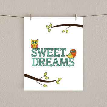 Sweet Dreams Owl Nursery Art Print - 8x10