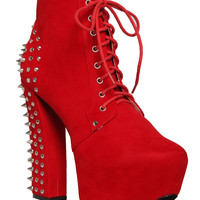 Fahrenheit Red Studded Heel Boot | Hot Topic