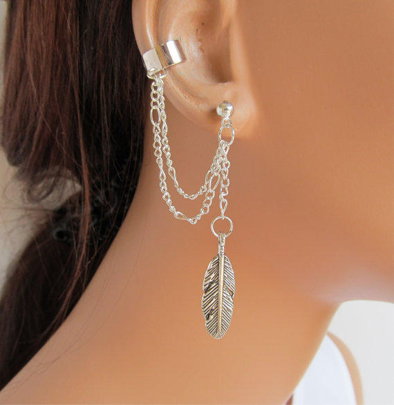 Double Chain Ear Cuff Silver Large Feather and by RazzleDazzleMe