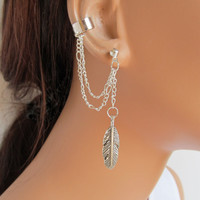 Double Chain Ear Cuff Silver Large Feather and Earring