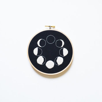 Lunar Phases Hand Stitched Embroidery Hoop Art - 2 Sizes Available!