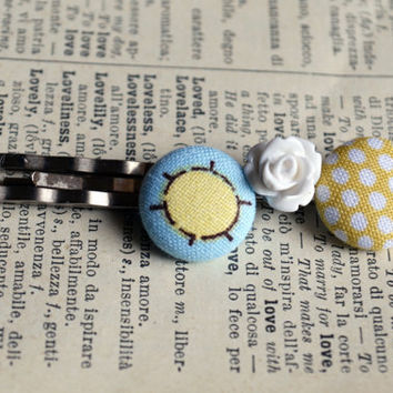 Hello Sunshine Fabric Button Bobby Pin Trio - Fabric Button Bobby Pins - Cute Gift -  Baby Girl Hair Pins - Party Favors - Birthday Gifts