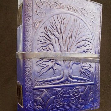 Tree of Life Handmade Black Leather A5 Journal Diary - Pagan Wicca Book of Shadows - with Sacred Celtic Oak Design
