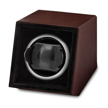 Brown Faux Leather Window Single Watch Winder