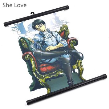 Cool Attack on Titan Japanese Anime  Levi Painting Hanging Wall Scroll Home Decor Poster Cosplay AT_90_11