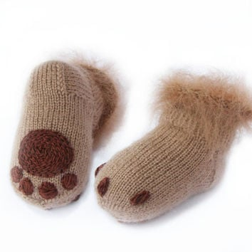 Baby socks Soft baby booties Knitted socks Kitten paws booties