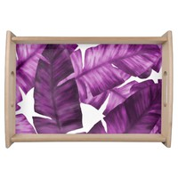 Pink Tropical Banana Leaves Pattern Serving Tray