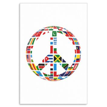 World Map Countries Flag Peace Sign Canvas Art
