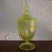Vintage Fenton Vaseline Stretch Glass Covered Pedestal Candy Dish Number 636 Circa 1924 Unmarked