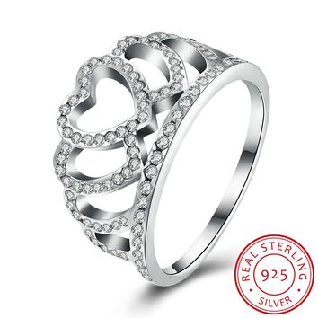 925 Sterling Silver Ring Heart - shaped crown diamond ring Women