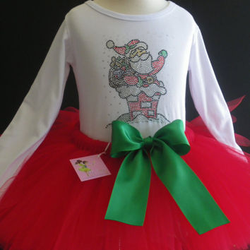3T/4T Santa Claus rhinestone t-shirt & FULL red tutu for Christmas dress