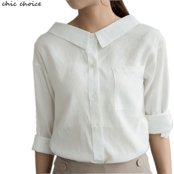 Big Peter Pan Collar Casual Female Shirt Basic Long Sleeve Linen and Cotton White Blusa Blouses Women