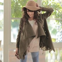 Korean Fashion Lace Embellished Women Jackets Blackish Green