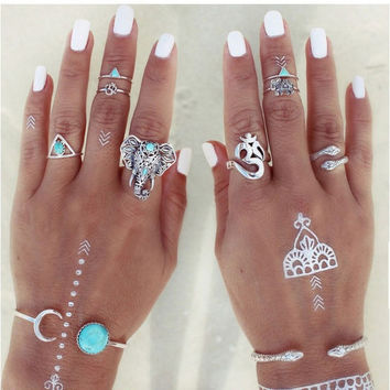 8 Pcs/ Set Bohemian Punk Ring Set Tibet Silver Gypsy Boho Elephant Snake Turquoise Natural Stone Ring + Gift Box