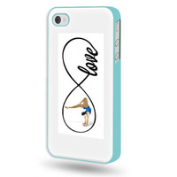 SudysAccessories Gymnastics Love Gymnastics Infinity Love iPhone 4 Case iPhone 4S Case - Aqua Blue SoftShell Full Plastic Direct Printed Graphic Case