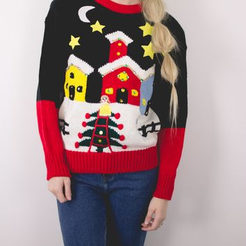 Vintage City Scene Ugly Christmas Sweater