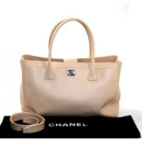 Chanel Beige Pebbled Leather Cerf Tote Bag