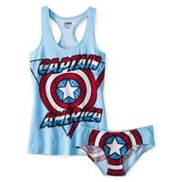 Juniors Captain America Tank and Panty Set - Blue