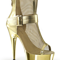 Gold 6 Inch Heel Peep Toe Ankle Boots Stripper Shoes