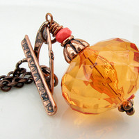 Sparkly Orange Acrylic And Copper N.. on Luulla